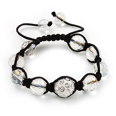 Transparent & Clear Crystal Balls Swarovski Shamballa Bracelet -10mm - Adjustable