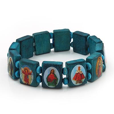 Stretch Teal Wooden Saints Bracelet / Jesus Bracelet / All Saints Bracelet - Up to 20cm Length