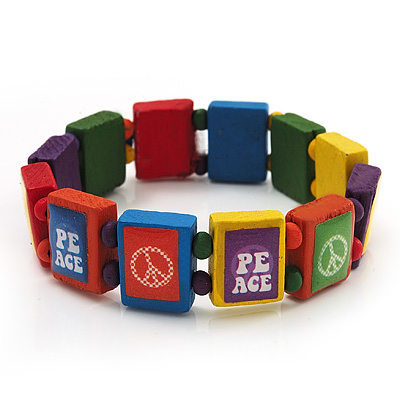 Multicoloured Wood &#039;Peace&#039; Stretch Bracelet - up to 20cm length
