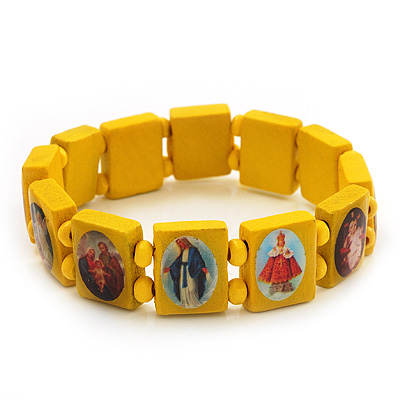 Stretch Yellow Wooden Saints Bracelet / Jesus Bracelet / All Saints Bracelet - Up to 20cm Length