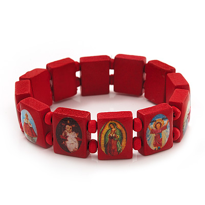 Stretch Red Wooden Saints Bracelet / Jesus Bracelet / All Saints Bracelet - Up to 20cm Length