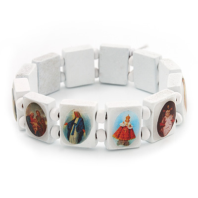 Stretch White Wooden Saints Bracelet / Jesus Bracelet / All Saints Bracelet - Up to 20cm Length - main view