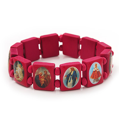 Stretch Deep Pink Wooden Saints Bracelet / Jesus Bracelet / All Saints Bracelet - Up to 20cm Length