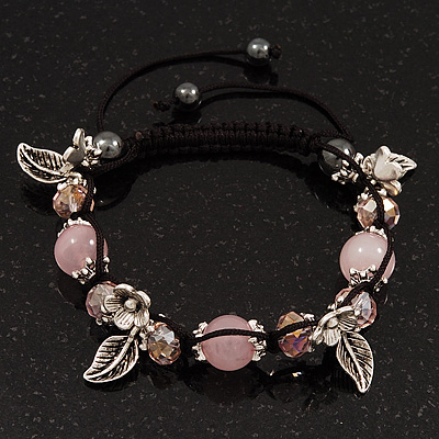 Burn Silver Floral Pink Glass Beaded Shamballa Bracelet - Adjustable
