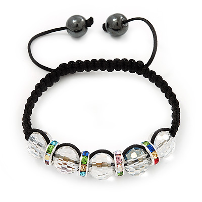 Transparent Crystal Beaded & Multicoloured Crystal Rings Shamballa Bracelet - Adjustable - 11mm Diameter