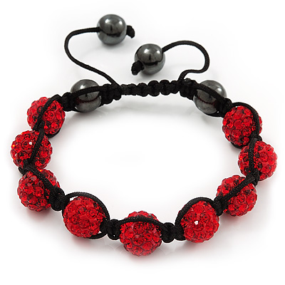 Unisex Ruby Red Swarovski Crystal Balls &amp; Smooth Round Hematite Beads Shamballa Bracelet - 12mm - Adjustable