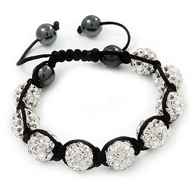 Unisex Clear Swarovski Crystal Balls & Smooth Round Hematite Beads Buddhist Bracelet - 12mm - Adjustable