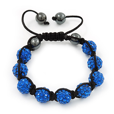 Unisex Sapphire Blue Coloured Swarovski Crystal Balls & Smooth Round Hematite Beads Buddhist Bracelet - 12mm - Adjustable