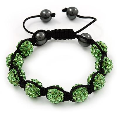Unisex Grass Green Swarovski Crystal Balls & Smooth Round Hematite Beads Buddhist Bracelet - 12mm - Adjustable