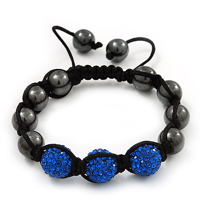 Hematite &amp; Royal Blue Swarovski Crystal Beaded Shamballa Bracelet - Adjustable - 11mm Diameter