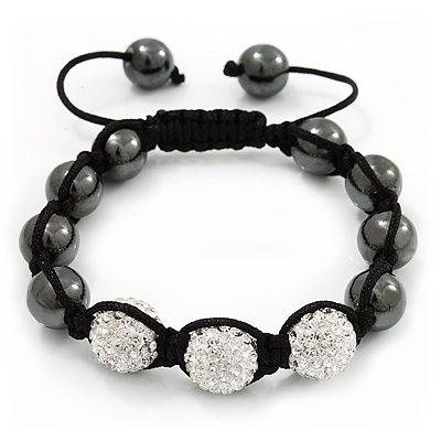 Hematite & Clear Swarovski Crystal Beaded Shamballa Bracelet - Adjustable - 11mm Diameter