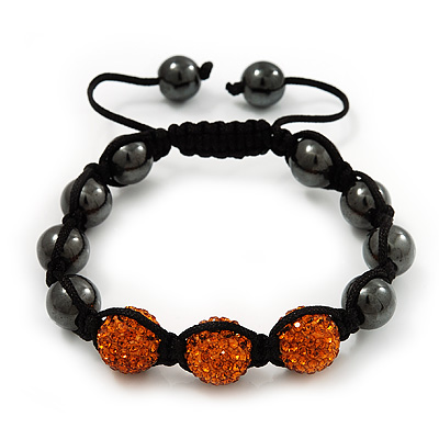 Hematite & Orange Swarovski Crystal Beaded Shamballa Bracelet - Adjustable - 11mm Diameter
