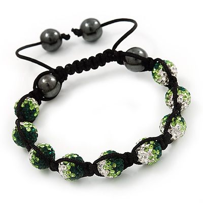 Emerald Green/Grass Green/Clear Swarovski Crystal &amp; Hematite Beaded Shamballa Bracelet - Adjustable - 10mm Diameter