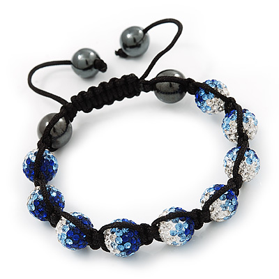 Royal Blue/Sky Blue/Clear Swarovski Crystal &amp; Hematite Beaded Shamballa Bracelet - Adjustable - 10mm Diameter