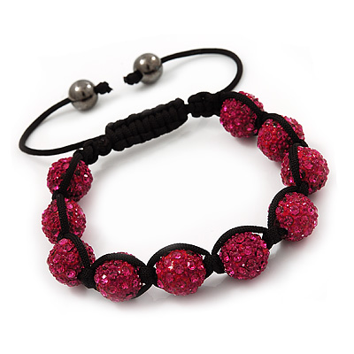 Unisex Shamballa Bracelet Crystal Fuchsia Swarovski Crystal Beads 10mm - Adjustable