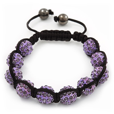 Unisex Shamballa Bracelet Crystal Lilac Swarovski Crystal Beads 10mm - Adjustable