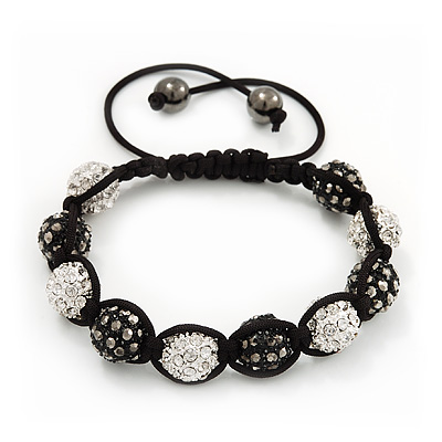 Unisex Shamballa Bracelet Crystal Dark Grey/Clear Swarovski Crystal Beads 10mm - Adjustable