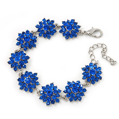 Royal Blue Swarovski Crystal Floral Bracelet In Rhodium Plated Metal - 16cm Length (with 5cm extension)