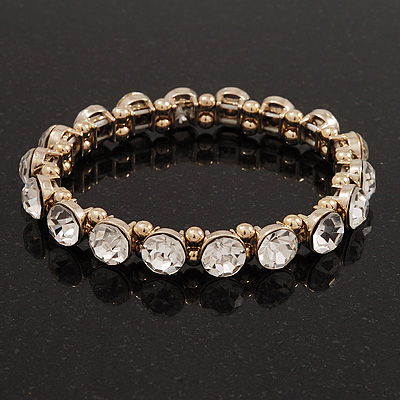 Clear Glass Crystal Flex Bracelet In Gold Finish - 18cm Length