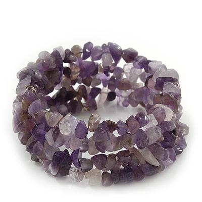 Amethyst Coil Flex Bangle Bracelet (Semi-precious stone) - Adjustable