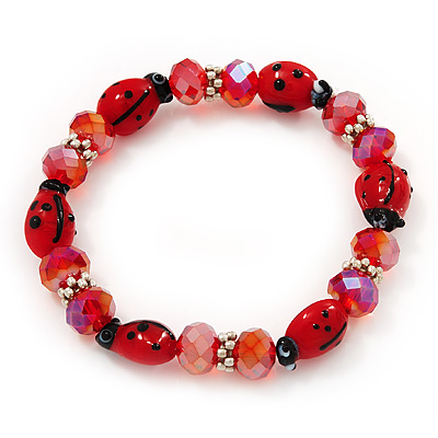 Red Glass &#039;Ladybug&#039; And Faceted Bead Flex Bracelet - 20cm Length