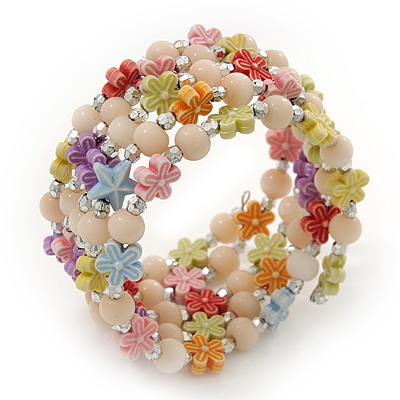 Acrylic Flower Bead Coil Flex Bracelet (Light Pink) - Adjustable