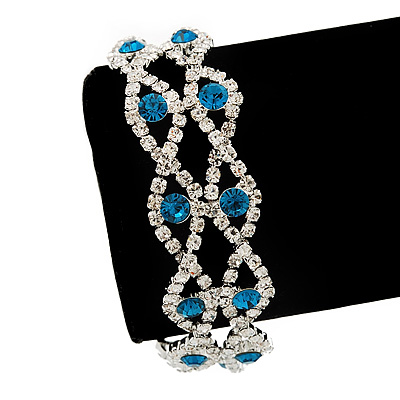 Two Row Turquoise/Clear Swarovski Crystal Bracelet - 17cm Length (7cm extension)