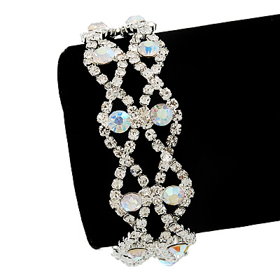 Two Row AB/Clear Swarovski Crystal Bracelet - 17cm Length (7cm extension)