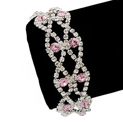 Two Row Pink/Clear Swarovski Crystal Bracelet - 17cm Length (7cm extension)