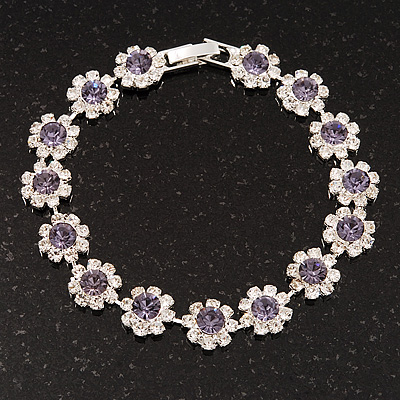 Light Purple/Clear Swarovski Crystal Floral Bracelet In Rhodium Plated Metal - 17cm Length