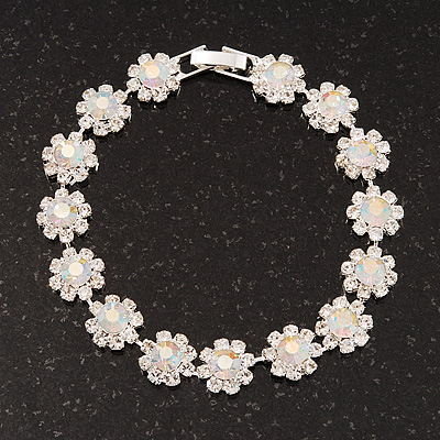 AB/Clear Swarovski Crystal Floral Bracelet In Rhodium Plated Metal - 17cm Length