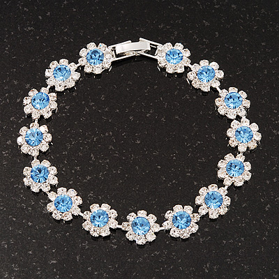 Light Blue /Clear Swarovski Crystal Floral Bracelet In Rhodium Plated Metal - 17cm Length