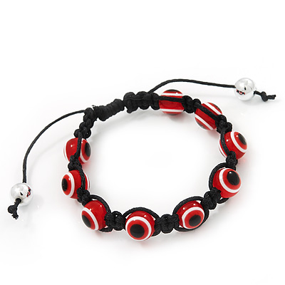 Evil Eye Acrylic Bead Protection Bracelet in Red/Black - 9mm Diameter - Adjustable