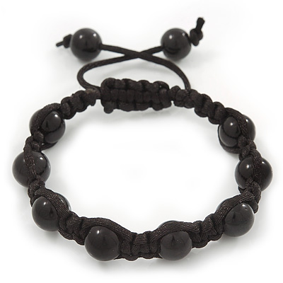 Unisex Black Glass Bead Teen Shamballa Bracelet On Silk String