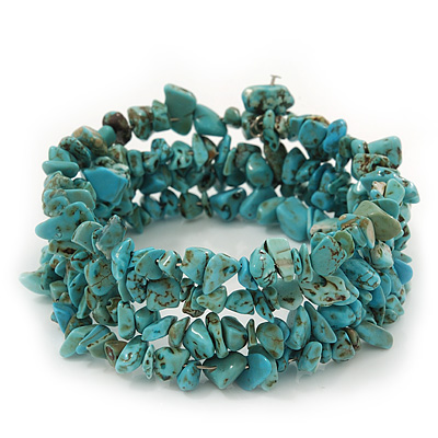 Turquoise Coil Flex Bangle Bracelet (Semi-precious stone) - Adjustable