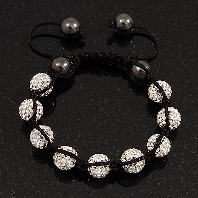 Clear Swarovski Crystal & Hematite Beaded Shamballa Bracelet - Adjustable - 10mm Diameter
