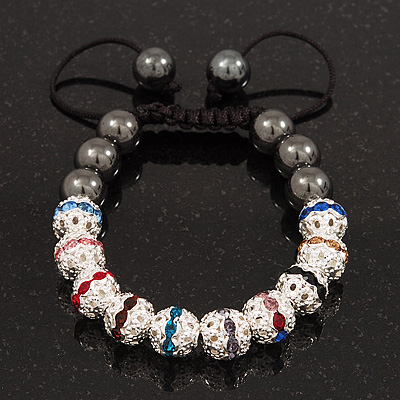 Hematite & Multicoloured Swarovski Crystal Beaded Shamballa Bracelet - Adjustable - 10mm Diameter