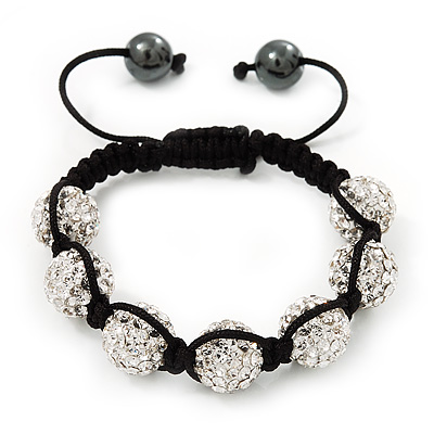Clear Swarovski Crystal Beaded Shamballa Bracelet - Adjustable - 12mm Diameter