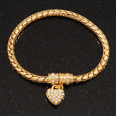 Gold Plated Delicate Magnetic Diamante Heart Charm Bracelet - up to 17cm Length
