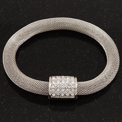 Unique Mesh Diamante Magnetic Bracelet In Silver Finish - 18cm Length