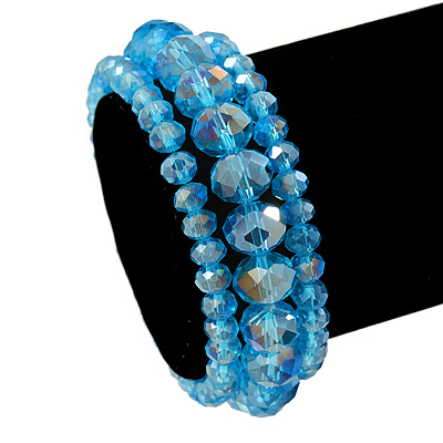 Set Of 3 Sky Blue Glass Flex Bracelets - 18cm Length