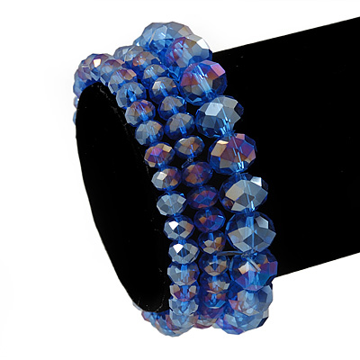Set Of 3 Royal Blue Glass Flex Bracelets - 18cm Length