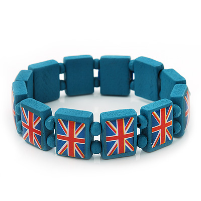 UK British Flag Union Jack Teal Stretch Wooden Bracelet - up to 20cm length