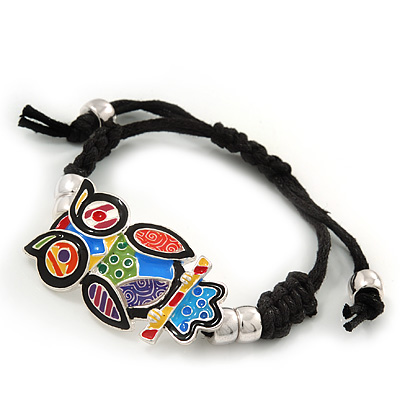 Multicoloured Enamel &#039;Owl&#039; Black Cotton Cord Bracelet - Adjustable