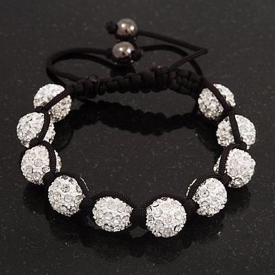 Unisex Buddhist Bracelet Crystal White Swarovski Crystal Beads 10mm - Adjustable