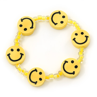 Children's Bright Yellow Acrylic 'Happy Face' Bracelet - Adjustable