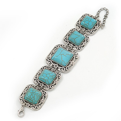 Vintage Turquoise Style Square Filigree Bracelet In Burn Silver - 16cm Length/ 5cm Extension