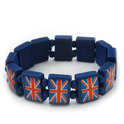 UK British Flag Union Jack Dark Blue Stretch Wooden Bracelet - up to 20cm length