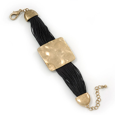 Ethnic Hammered Square Disk Black Cotton Cord Bracelet In Gold Plating - 16cm Length/ 5cm Extension