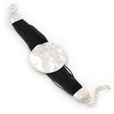 Ethnic Hammered Disk Black Cotton Cord Bracelet In Silver Plating - 16cm Length/ 5cm Extension